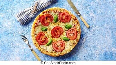 выстрел, вкусно, итальянский, выше, пицца, served, синий,...