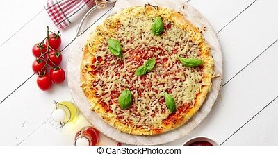 выстрел, выше, деревянный, вкусно, served, пицца, таблица,...