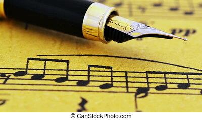 выстрел, фонтан, ручка, долли, музыка, лист