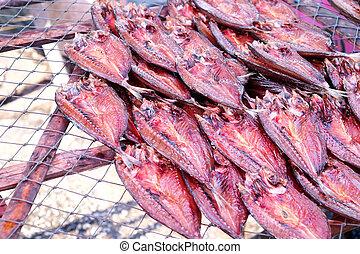 высушенный, рыба, на, провод