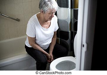 выход на пенсию, женщина, упал, вниз, в, , комната отдыха