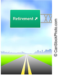 выход на пенсию, шоссе, знак