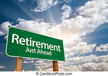 выход на пенсию, clouds, над, знак, зеленый, дорога