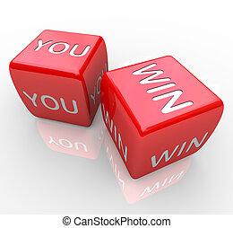 вы, выиграть, -, words, на, красный, игральная кость