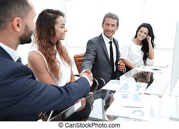 в течение, рука, поколебать, businessmen, встреча