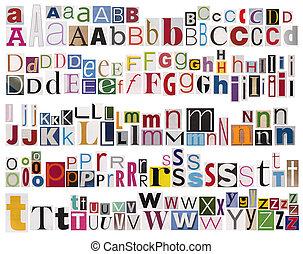 газета, алфавит, красочный