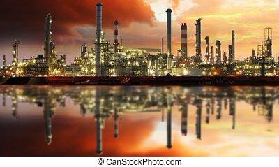 газ, очистительный завод, масло, промышленность, -, движение