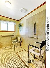 гандикап, главная, ванная комната, взрослый, семья