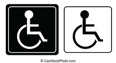 гандикап, инвалидная коляска, символ, человек, вектор, или