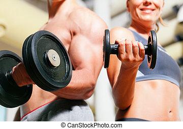 гантель, упражнение, в, гимнастический зал