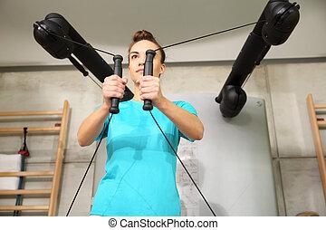 гимнастический зал, обучение, with, rubbers