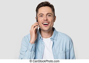 глава, talking, человек, телефон, счастливый, выстрел, умная, улыбается, с помощью