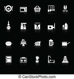 главная, кухня, icons, with, отражать, на, черный, задний план