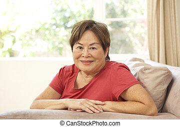 главная, старшая, женщина, стул, relaxing