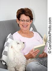 главная, старшая, женщина, relaxing