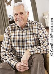 главная, старшая, стул, relaxing, человек