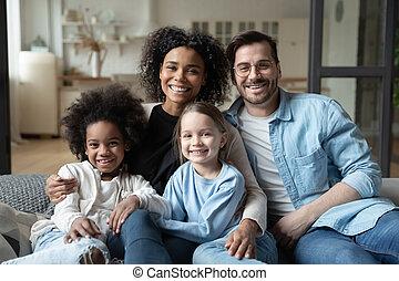 главная, счастливый, семья, расслабиться, портрет, многорасовый