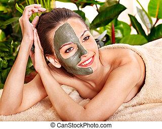 глина, лицевой, маска, в, красота, spa.