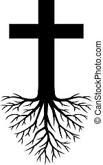 глубоко, rooted, пересекать