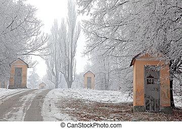 голгофа, and, зима, природа