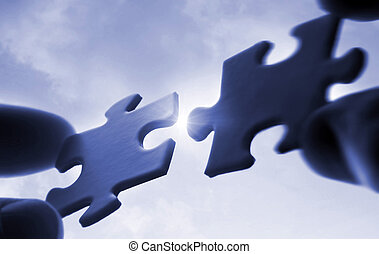 головоломка, небо, солнечный лучик, pieces, сдачи, вместе, задний план