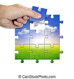головоломка, пейзаж, часть, collecting, рука