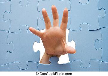 головоломка, через, женский пол, рука