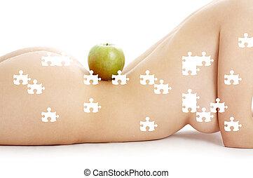 головоломка, of, женщина, торс, with, зеленый, яблоко