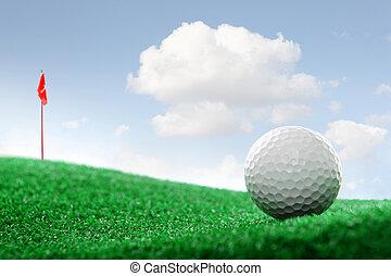 гольф, мяч, на, , зеленый