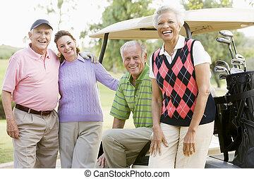 гольф, 4, игра, портрет, enjoying, friends