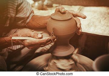 гончар, марки, на, , керамика, колесо, глина, pot.