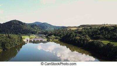 гора, антенна, carpatian, лес, река, пейзаж