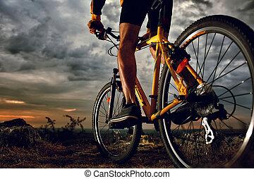 гора, велосипед, велосипедист, верховая езда, на открытом воздухе