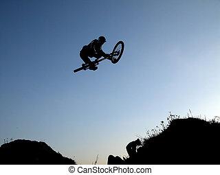 гора, велосипед, прыгать