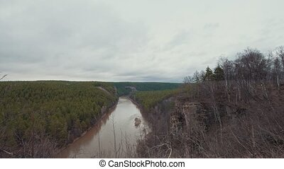 гора, захватывающе, плотный, overlooking, весна, дерево, река, пейзаж