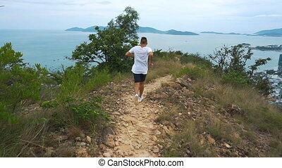 гора, красивый, мужской, бег, поместиться, за работой, город, спортивное, человек, out., посмотреть