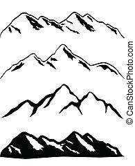 гора, peaks, снежно