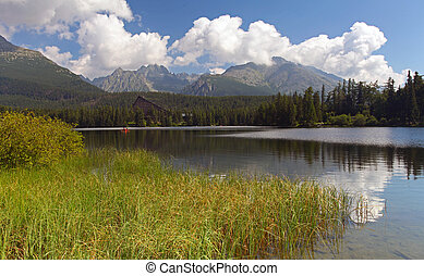 гора, pleso, -, озеро, словакия, tatra, strbske