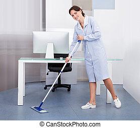 горничная, уборка, офис, пол