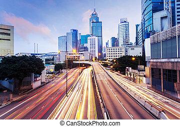 городской, город, trails, современное, background., трафик, cityscape