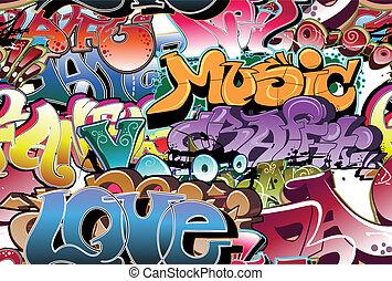 городской, граффити, бесшовный, задний план