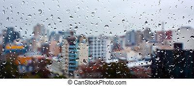 городской, дождь, falls, панорамный, окно, drops, посмотреть