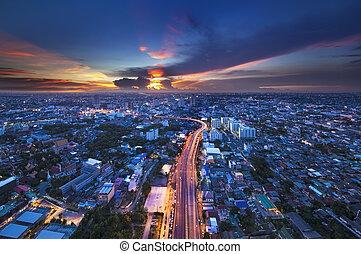 городской, линия горизонта, thailand., город, бангкок