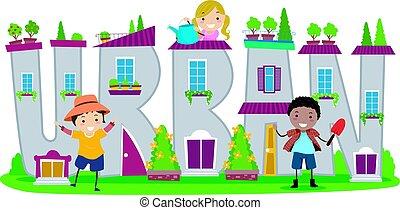 городской, stickman, kids, садоводство