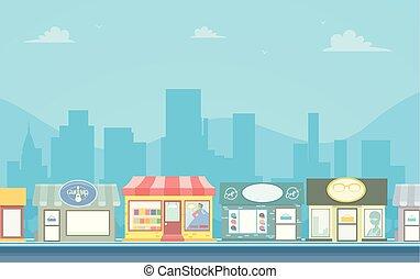 городской, stores, задний план, иллюстрация