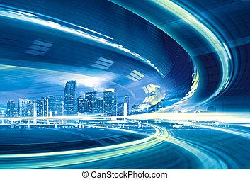 городской, trails., красочный, город, легкий, абстрактные, современное, в центре города, иллюстрация, движение, собирается, скорость, шоссе