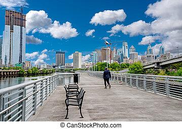 город, гулять пешком, мост, филадельфия, schuylkill, вдоль,...