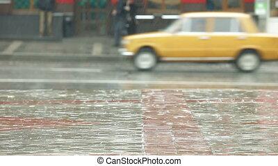 город, дождливый, улица, день