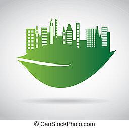 город, зеленый