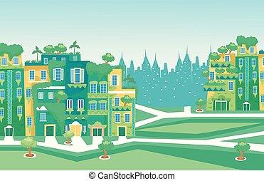 город, зеленый, место действия, иллюстрация